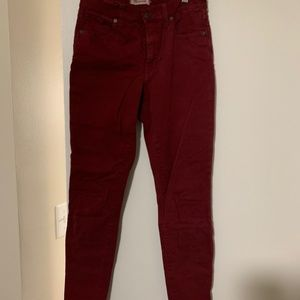 Madewell Maroon Stretch Ankle Jeans